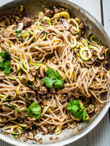 zoodle pad thai in skillet