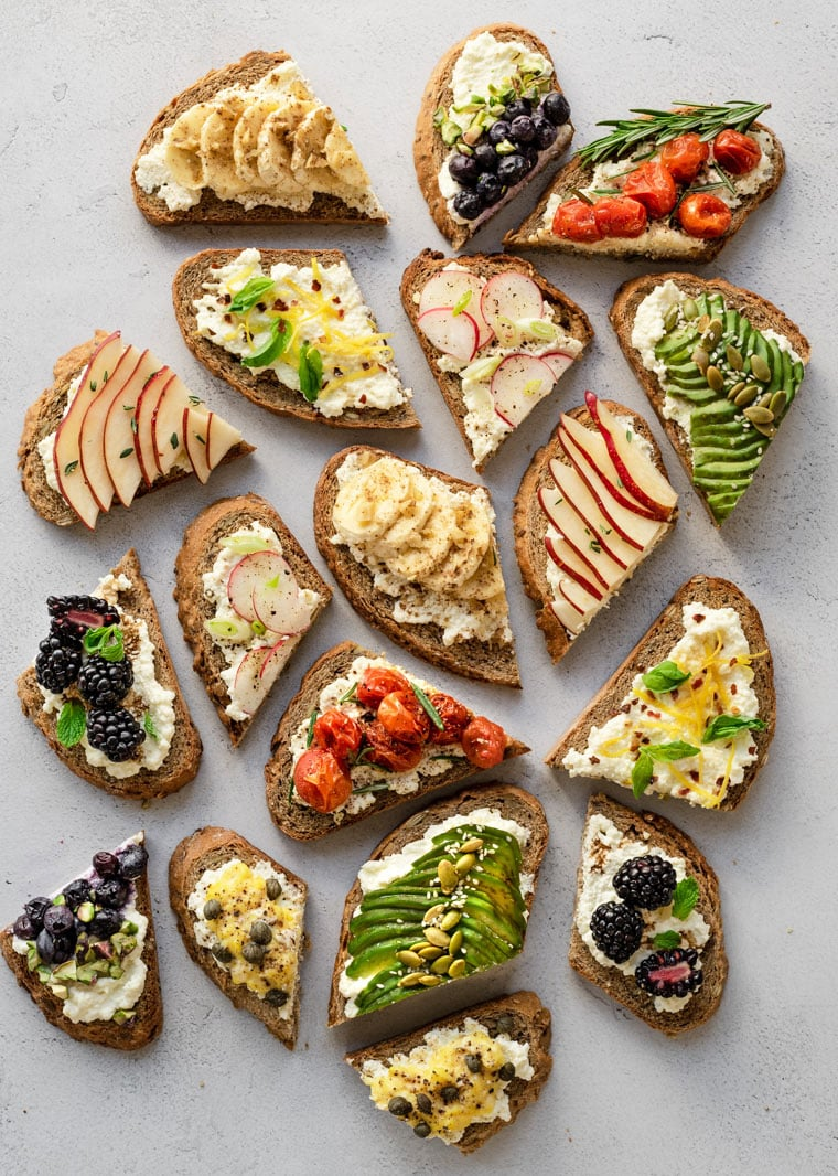 a variety of ricotta toast halves