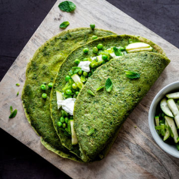 sweet pea spinach and goat cheese crepes