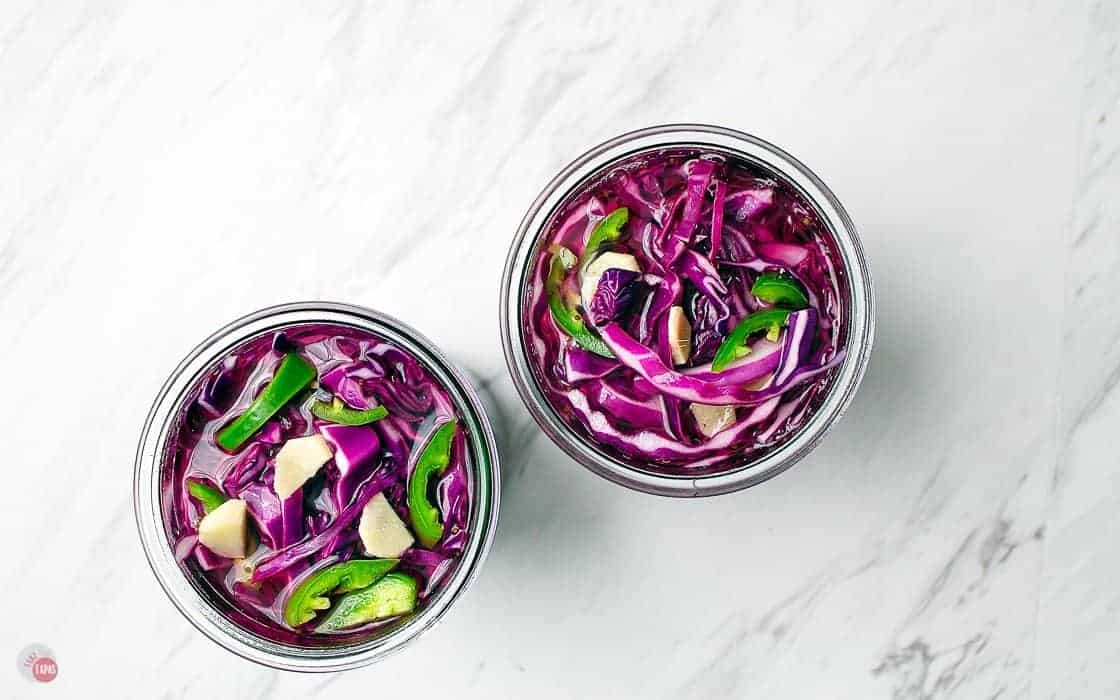 two jars of pickled red cabbage